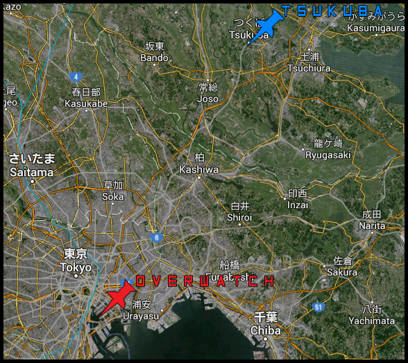 La ville-prison d'Overwatch située dans la baie de Tokyo, se trouve à environ une heure de route de la ville de Tsukuba au Nord-Est.