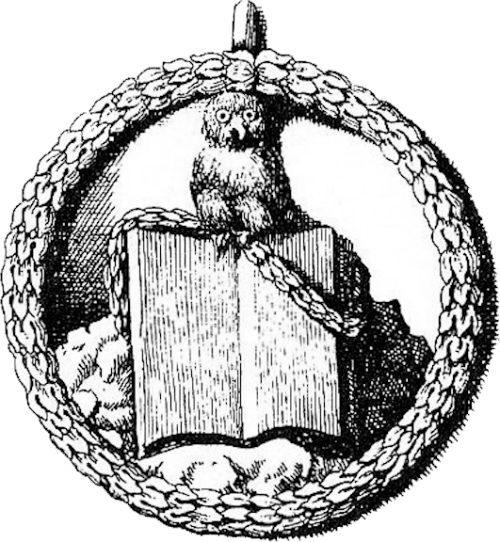 Insigne de la société secrète des Illuminés de Bavière, à l'effigie de la chouette de Minerve