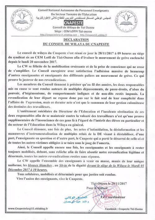 Déclaration du conseil de wilaya