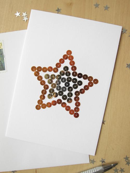 Carte Noel brodée main paillettes motif étoile tricolore