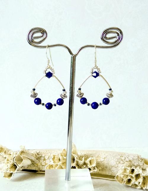 Boucles anneaux bleues Pierre de lapis lazuli naturel et cristal de Swarovski / Argent 925
