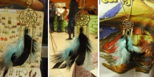 capteur de rêve sautoir plumes noires et turquoises