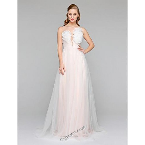 A-line Bateau Court Train Tulle Wedding Dress with Sash Ribbon Flower Side-Draped by ® Canada Dress