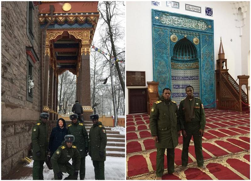 visite des lieux de culte de Saint Petersbourg par des élèves officiers guinéens de l'université spéciale de logistique militaire