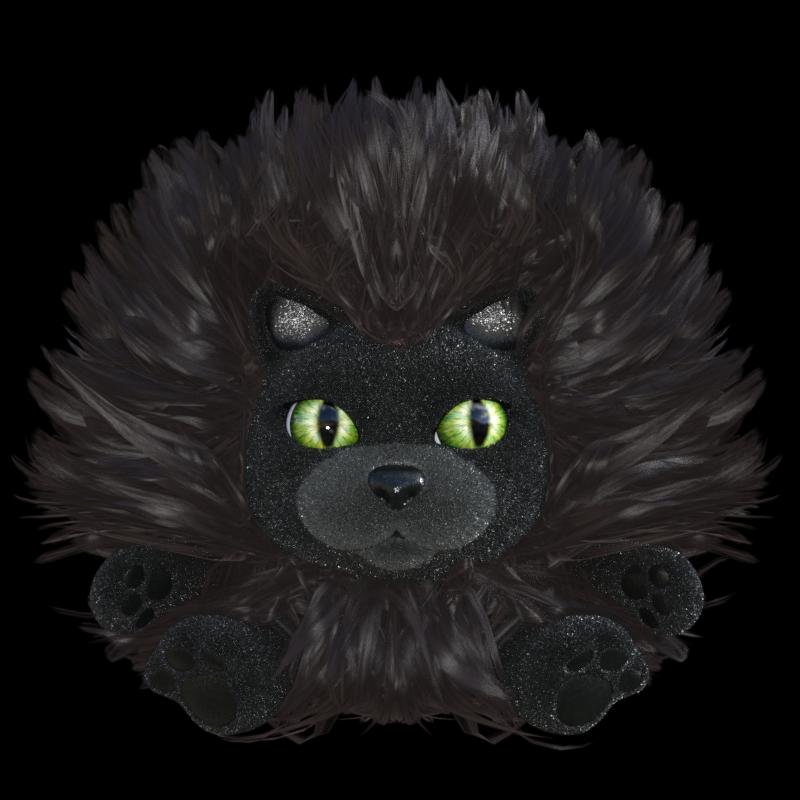 Tube de chat en peluche noir (render-image)