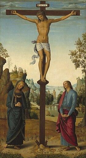Tableau présentant Jésus sur sa croix, au pied de laquelle se trouvent deux femmes.