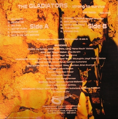 "The Gladiators : Album "" Strong To Survive "" Sonic Sounds Records SSR 789321 [JA]"