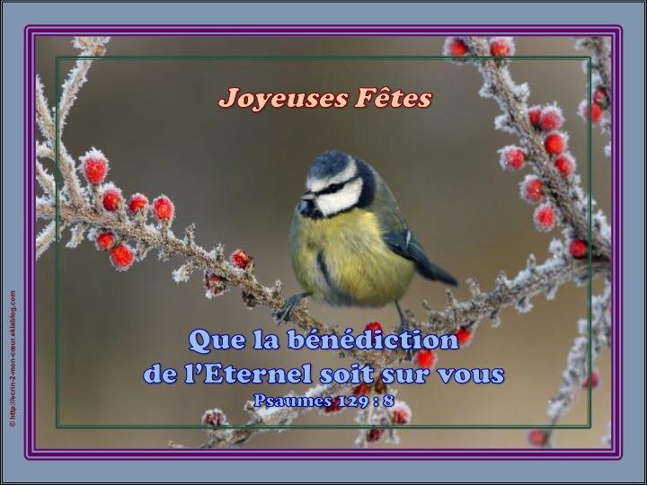 Que la bénédiction de l'Eternel soit sur vous - Psaumes 129 : 8