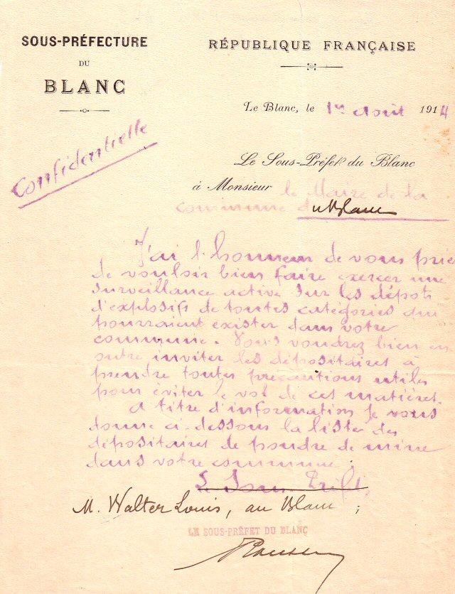 surveillance des dépôts d'explosifs 1/8/1914
