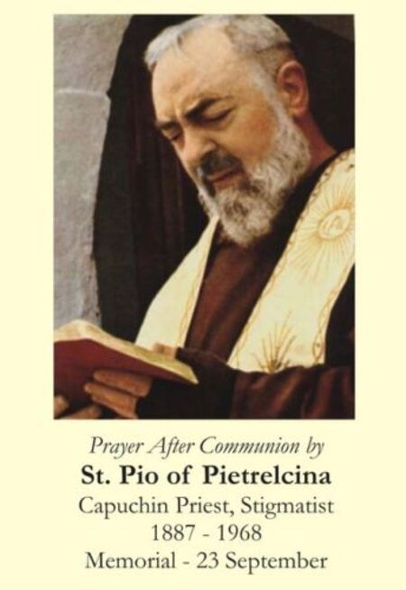 Prayer after Communion by St Pio of Pietrelcina