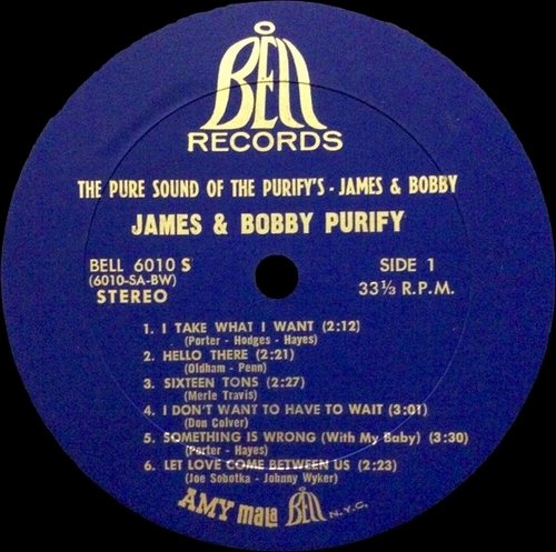 "James & Bobby Purify : Album "" The Pure Sound Of The Purifys - James & Bobby "" Bell Records BELL 6010 S [ US ]"