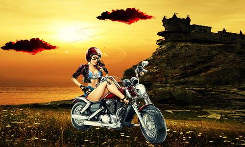A moto en Automne