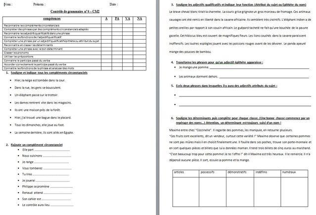 français : évaluations CM2 période 4 grammaire