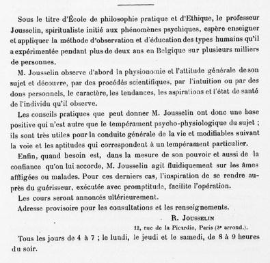 Dissidence de M. Jousselin