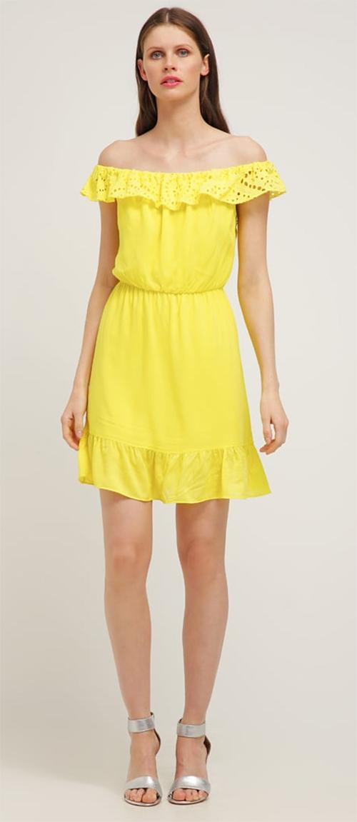 Robe courte jaune Naf Naf