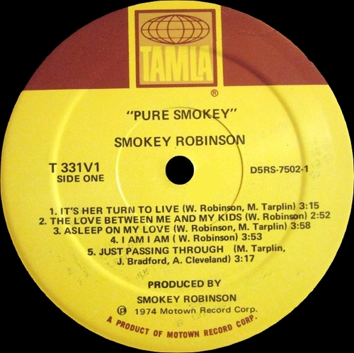 "Smokey Robinson : Album "" Pure Smokey "" Tamla Records T6-331S1 / T-331V1 [ US ]"