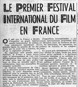 LE PREMIER FESTIVAL INTERNATIONAL DU FILM EN FRANCE (1) 10 août 1939