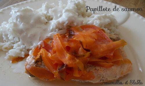 Papillotte de saumon - riz blanc