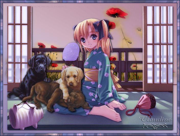 Cadre petite fille et labradors