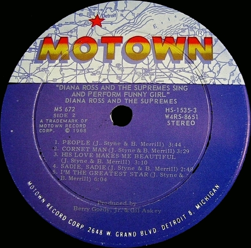 """Diana Ross & The Supremes : Album """" Sing & Perform '' Funny Girls '' """" Motown Records MS 672 [ US ]"""