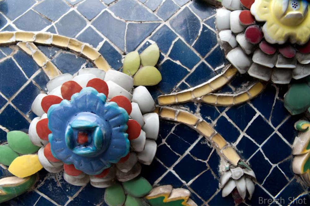 Bangkok - Wat Pho : Détails de mosaïques