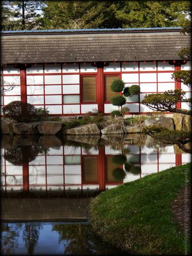 Maison japonaise, reflet dans l'eau