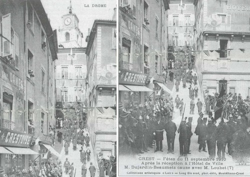 --- Crest : place de l'Hôtel de Ville - septembre 1910 : Monsieur Dujardin-Beaumetz en grande discussion avec Monsieur Emile Loubet (ancien président de la république française) - le grand escalier à côté de l'Hôtel de Ville devenu Office du Tourisme - image/photo d'origine pouvant être protégée ---
