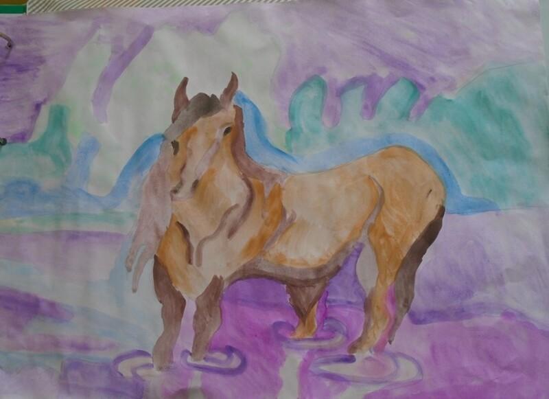 Le cheval dans l'eau