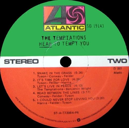 "The Temptations : Album "" Heart To Tempt You "" Atlantic Records SD 19143 [ US ]"