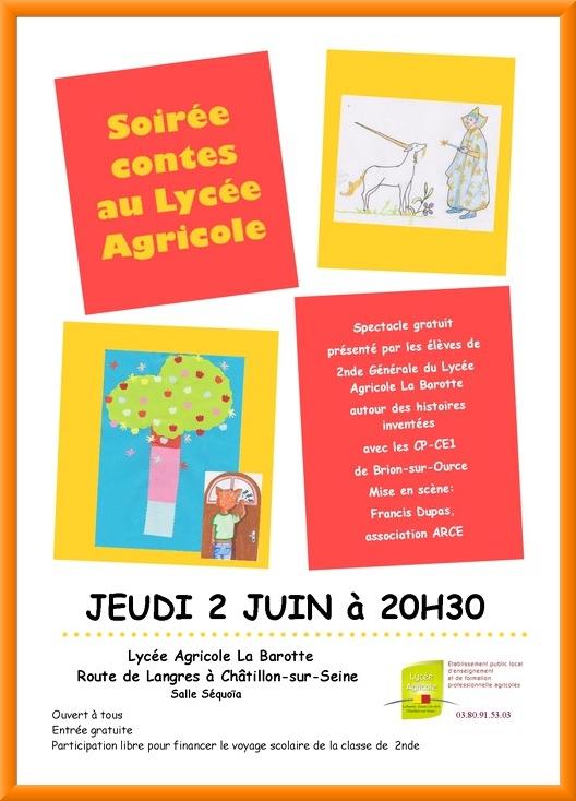 Spectacle au lycée agricole de La Barotte, avec les élèves du lycée et les écoliers de Brion sur Ource Brion