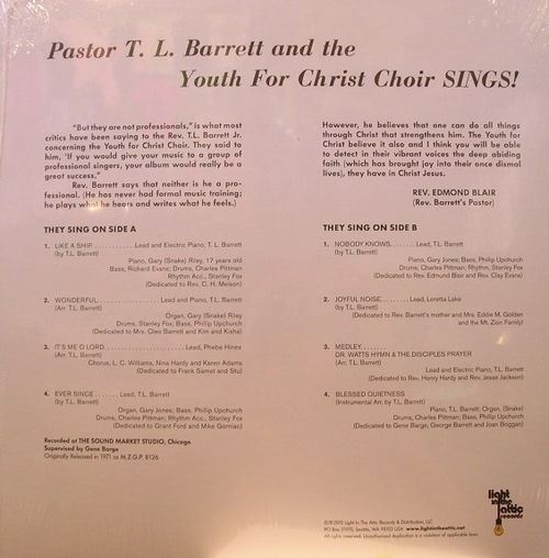 "Pastor T.L. Barrett & The Youth For Christ Choir : Album "" Like A Ship [ Without A Sail ] "" Mt. Zion Records MZGP 8126 [ US ]"