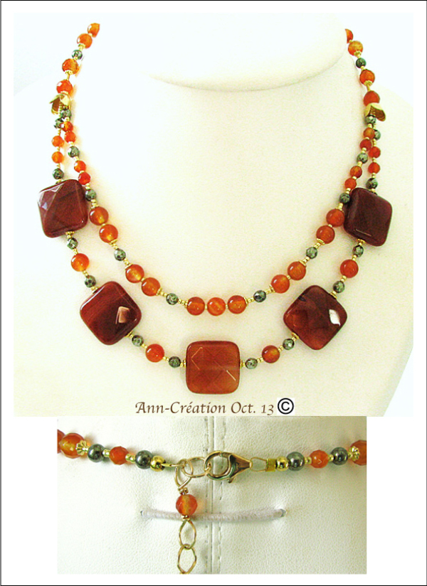 Collier 2 rangs Cornaline - Plaqué Or 14 kt Gold Filled & Laiton/ Carnelian Necklace