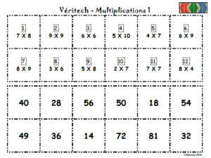 Jeu Veritech - des multiplications
