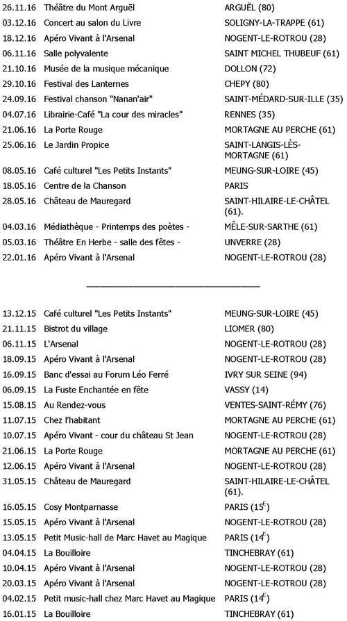 Dates des concerts