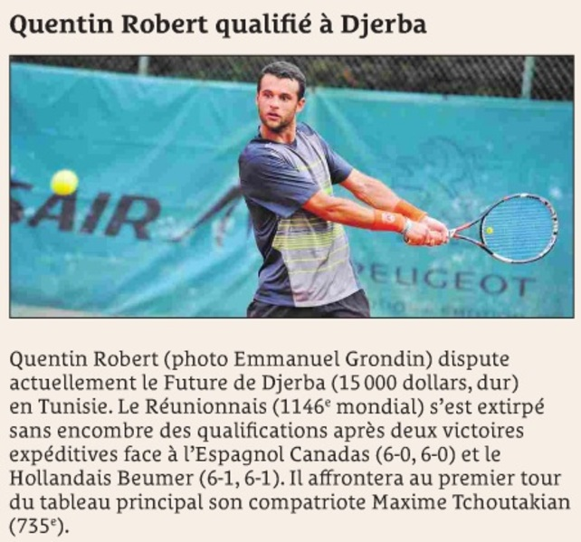 Quentin Robert qualifié à Djerba