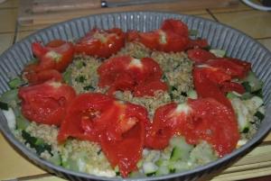 Tatin de tomates et petites courgettes