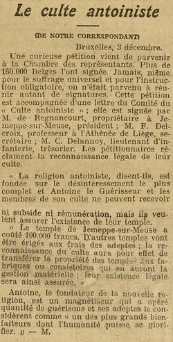 Le Culte Antoiniste (La Liberté, 4 déc 1910)
