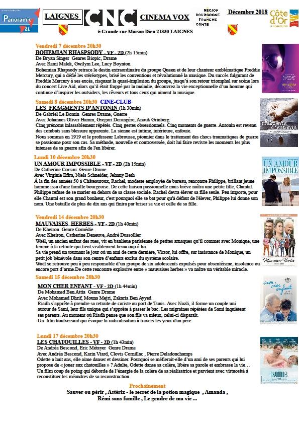 Programme du cinéma Vox de Laignes pour décembre 2018