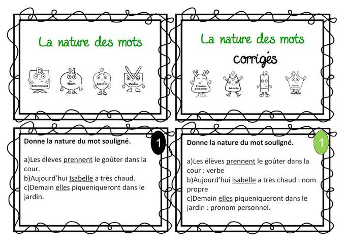 cartes autonomie : la nature des mots