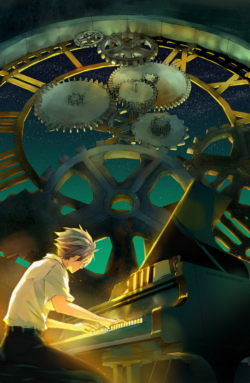 Image de anime, piano, and art