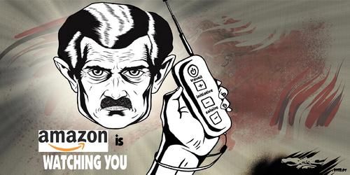 dessin de JERC du jeudi 08 février 2018 caricature Amazon invente le mouchard pour ses employés esclavage moderne www.facebook.com/jercdessin