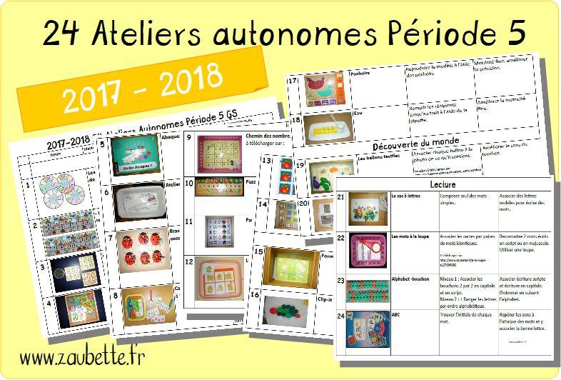 24 ateliers autonomes individuels GS période 5 2017 2018