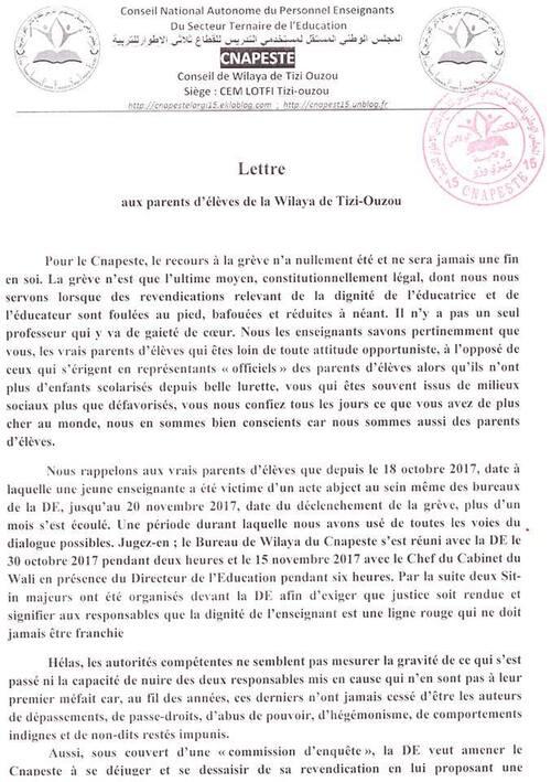 lettre aux parents d'élèves