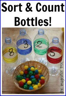 Le tri et le comptage des bouteilles pour le jeu mathématique