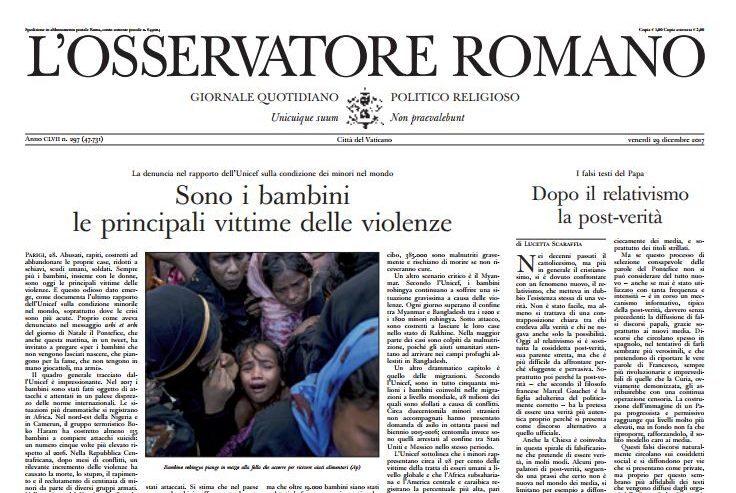 Une de L'Osservatore Romano du 29/12/2017