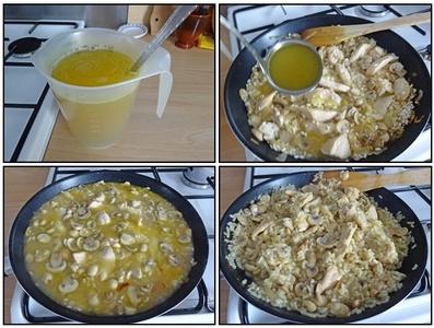 Risotto au poulet et champignons