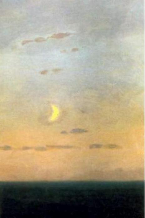 Croissant de lune au coucher du soleil
