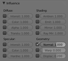 Tableau Influence configuré pour une Normal ou Bump map