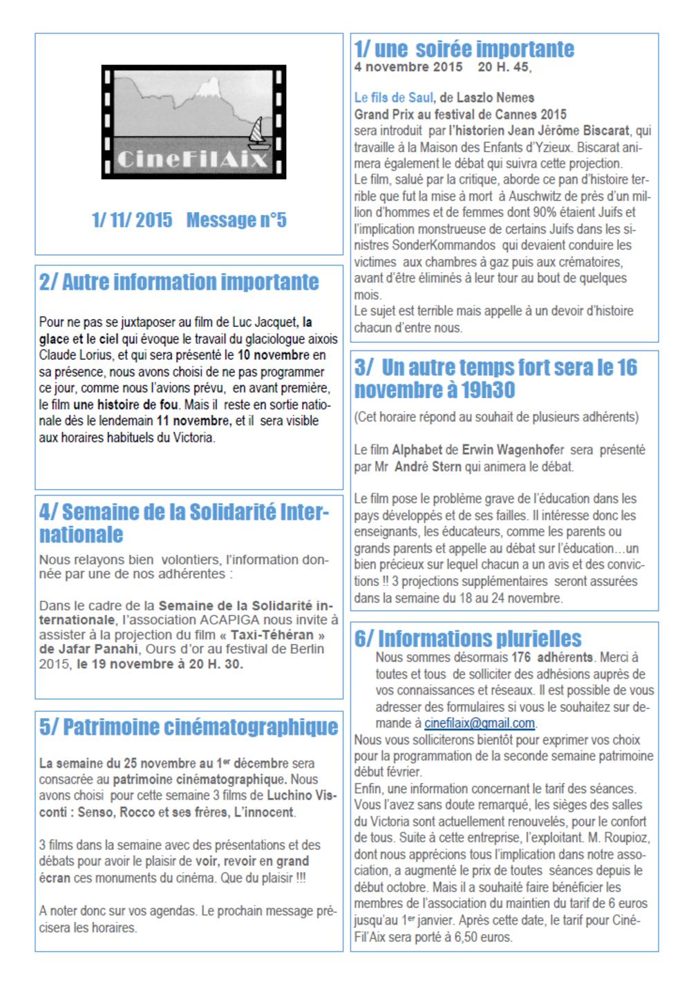 message N ° 5 CinéFilAix