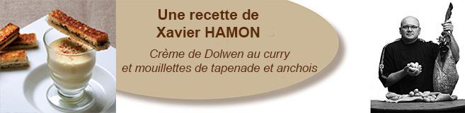 Crème de Dolwen au curry et mouillettes de tapenade et anchois